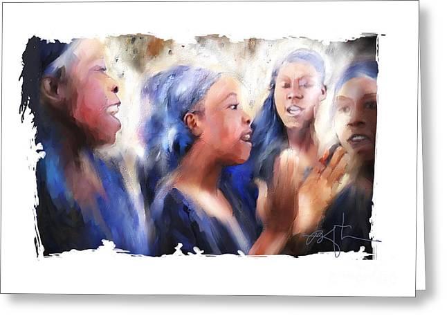 Quartet Greeting Cards - Haitian Chorus Singers Greeting Card by Bob Salo