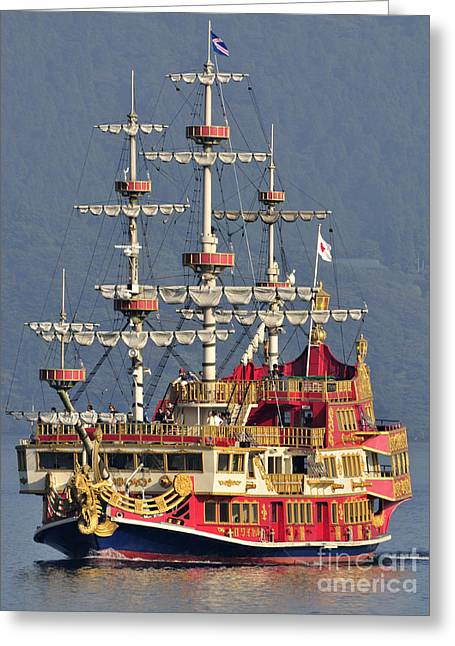 Pirates Greeting Cards - Hakone Sightseeing Cruise ship sailing on Lake Ashi Hakone Japan Greeting Card by Andy Smy