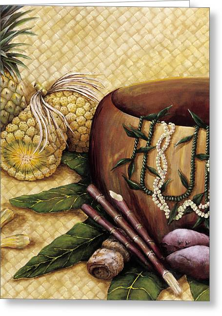 Wooden Bowl Greeting Cards - Hala Kahiki Greeting Card by Sandra Blazel - Printscapes