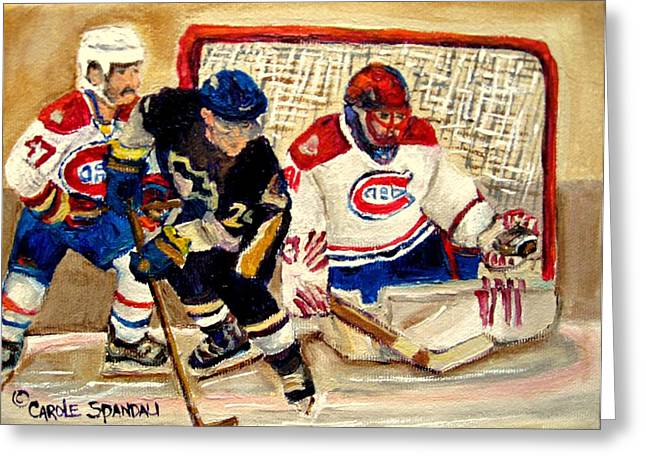 Hockey Memorabilia Greeting Cards - Halak Catches The Puck Stanley Cup Playoffs 2010 Greeting Card by Carole Spandau