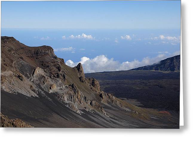 Craters Pyrography Greeting Cards - Haleakala Crater Maui Hawaii Greeting Card by Trent Saviers