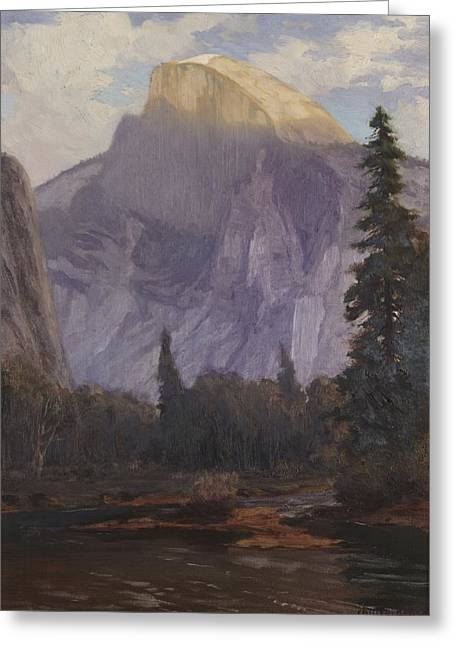 Yosemite Paintings Greeting Cards - Half Dome Greeting Card by Christian Jorgensen