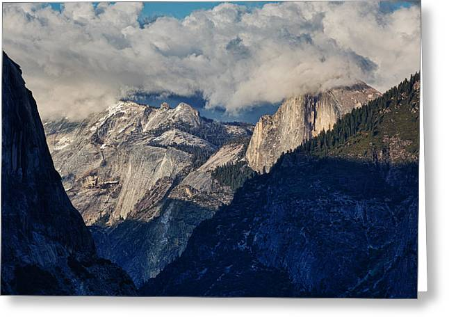 Half Dome Greeting Cards - Half Dome In The Clouds Greeting Card by Rick Berk