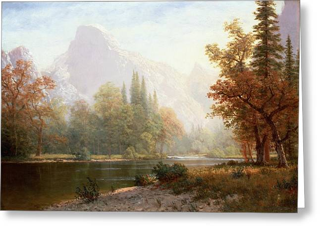 Country Landscapes Greeting Cards - Half Dome Yosemite Greeting Card by Albert Bierstadt