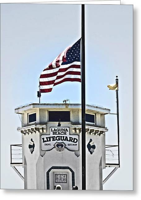 Patriotic Scenes Greeting Cards - Half Mast at Laguna Beach  Greeting Card by Gwyn Newcombe