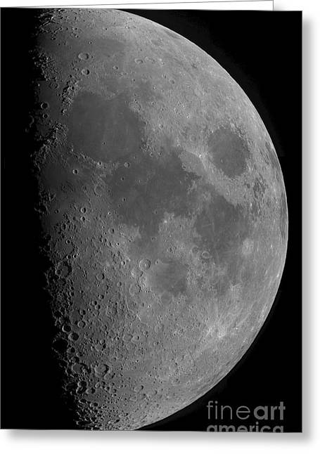Mare Serenitatis Greeting Cards - Half-moon Greeting Card by Rolf Geissinger