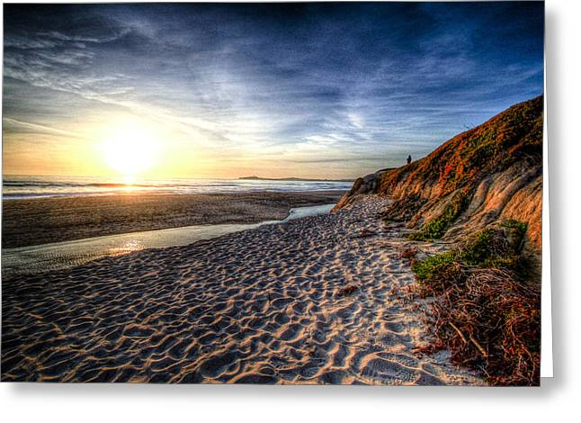 Best Sellers -  - Half Moon Bay Greeting Cards - Half Moon Sunset Greeting Card by Subhadip Ghosh
