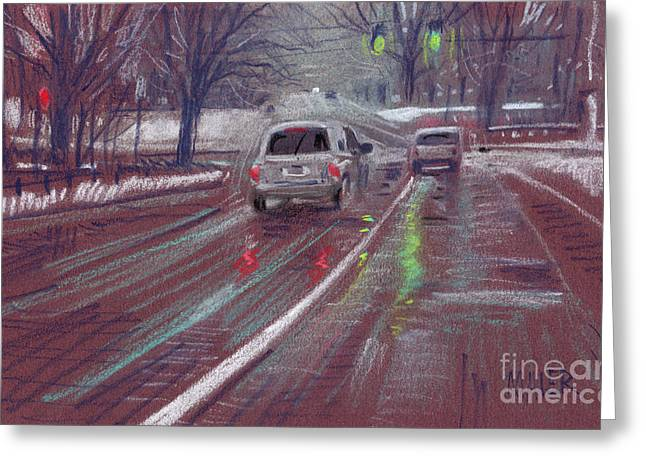 Traffic Pastels Greeting Cards - Halfway Home Greeting Card by Donald Maier