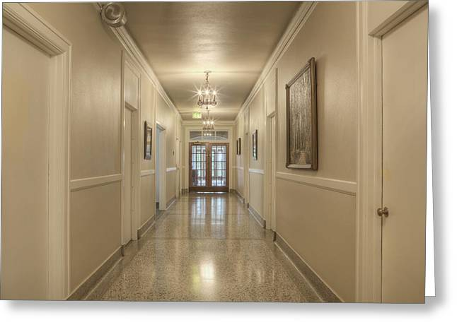 Residential Structure Greeting Cards - Hall Corridor. Built In 1927 Greeting Card by Douglas Orton