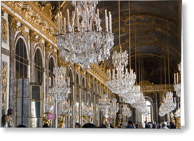 Most Photographs Greeting Cards - Hall of Mirrors at Palace of Versailles France Greeting Card by Jon Berghoff