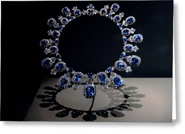 Valuable Greeting Cards - Hall Sapphire and Diamond Necklace Greeting Card by LeeAnn McLaneGoetz McLaneGoetzStudioLLCcom
