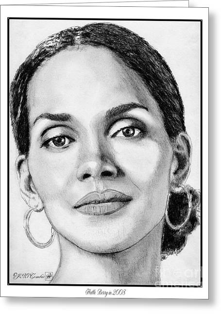 African-american Drawings Greeting Cards - Halle Berry in 2008 Greeting Card by J McCombie