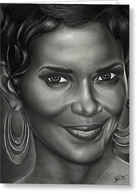 Halle Berry Greeting Cards - Halle Berry Greeting Card by Jeff Stroman
