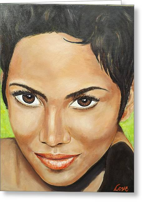 Halle Berry Greeting Cards - Halle Greeting Card by Joseph Love