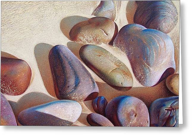 Beach Landscape Drawings Greeting Cards - Hallett Coves stones - detail Greeting Card by Elena Kolotusha