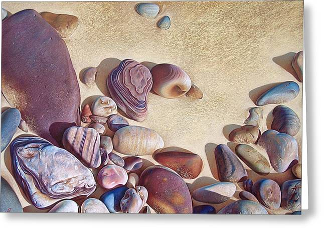 Beach Landscape Drawings Greeting Cards - Hallett Coves stones Greeting Card by Elena Kolotusha