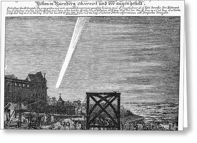 1680 Greeting Cards - Halleys Comet, 1680 Greeting Card by Granger