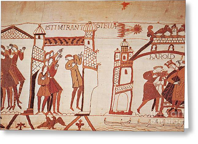 Halley Greeting Cards - Halleys Comet, Bayeux Tapestry Greeting Card by Photo Researchers