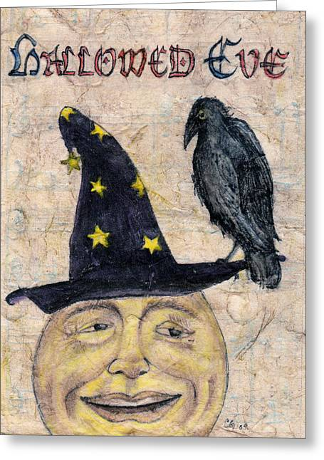 Cards Vintage Mixed Media Greeting Cards - Hallowed Eve Greeting Card by Carrie Jackson