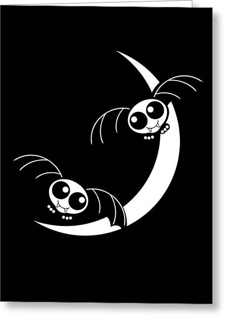 Tricks Mixed Media Greeting Cards - Halloween Bats and Crescent Moon Greeting Card by Gravityx Designs