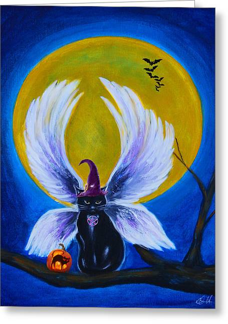 Halloween Pastels Greeting Cards - Halloween Cat Greeting Card by Diana Haronis