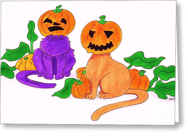 Pumpkins Drawings Greeting Cards - Halloween Cats Greeting Card by Michaela Bautz