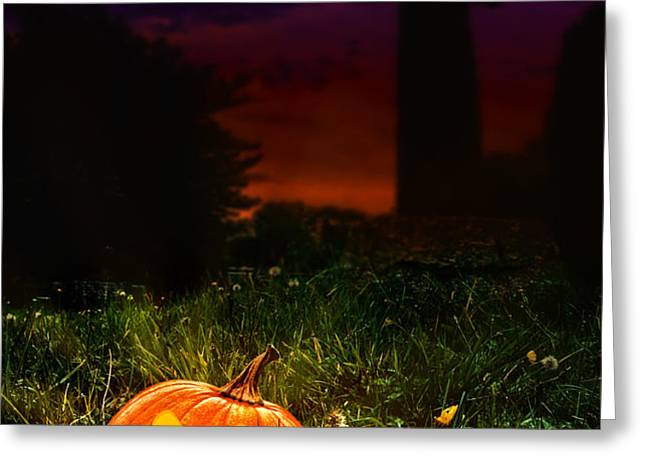 Halloween Cemetery Greeting Card by Amanda And Christopher Elwell