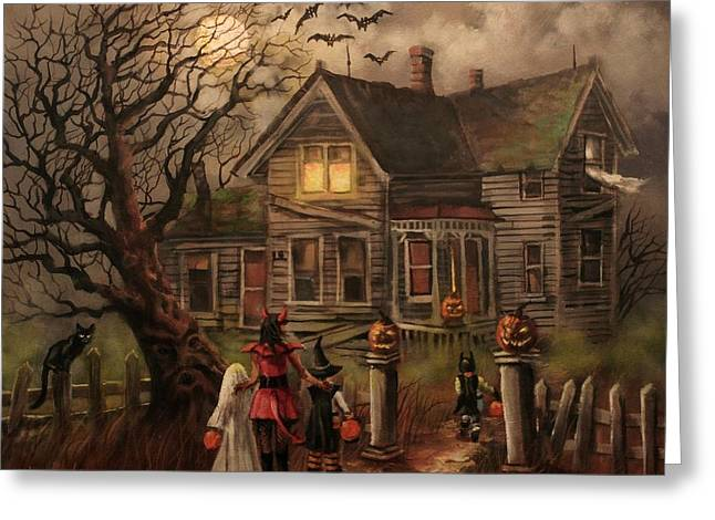 """haunted House"" Paintings Greeting Cards - Halloween Dare Greeting Card by Tom Shropshire"