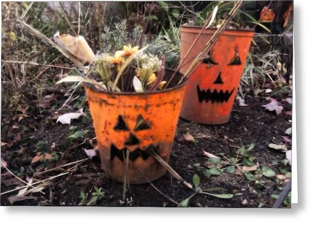 Jackolanterns Greeting Cards - Halloween Faces Greeting Card by Sylvia Pimental