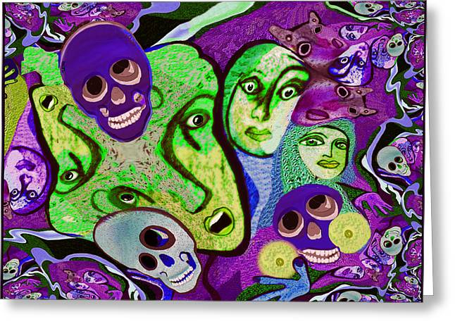 747 Greeting Cards - Halloween fractal - 747 Greeting Card by Irmgard Schoendorf Welch