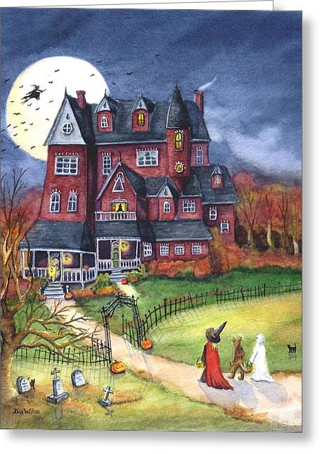 Halloween Haunted Mansion Greeting Card by Iva Wilcox