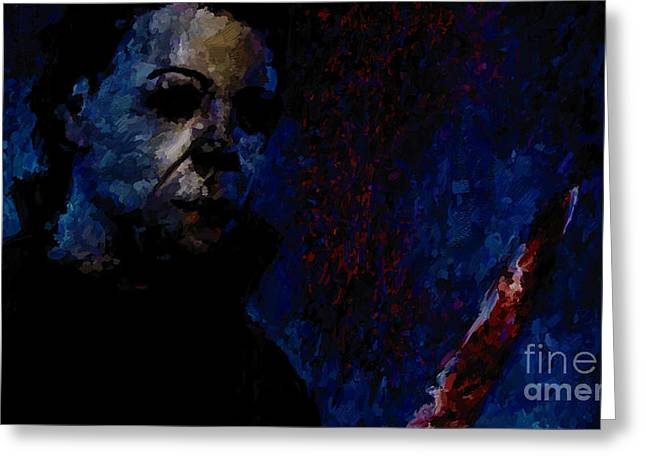 Halloween Michael Myers Signed Prints available at laartwork.com Coupon Code KODAK Greeting Card by Leon Jimenez