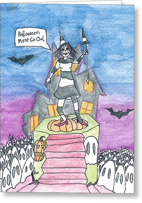 Halloween Must Go On Greeting Card by Michael Mooney