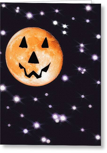 Moonshine Mixed Media Greeting Cards - Halloween Night - Moon and Stars Greeting Card by Steve Ohlsen
