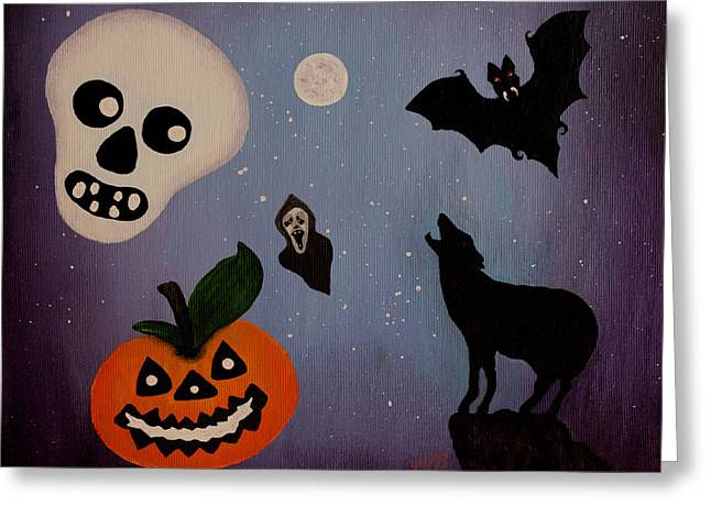 Halloween Night Original Acrylic Painting Placemat Greeting Card by Georgeta  Blanaru