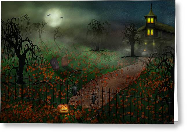 Hallows Eve Greeting Cards - Halloween - One Hallows Eve Greeting Card by Mike Savad