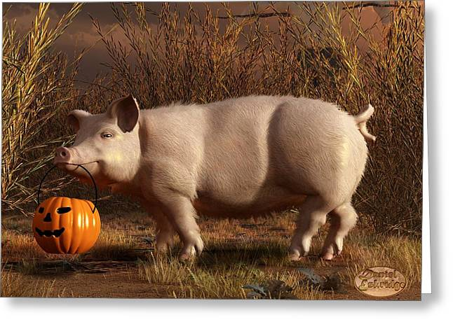 Halloween Pig Greeting Card by Daniel Eskridge