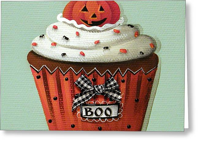 Pumpkins Greeting Cards - Halloween Pumpkin Cupcake Greeting Card by Catherine Holman