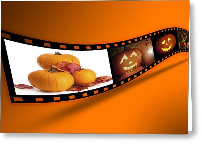 Filmstrip Greeting Cards - Halloween Pumpkin Film Strip Greeting Card by Amanda And Christopher Elwell