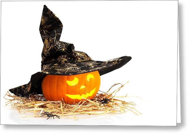 Halloween Pumpkin With Witches Hat Greeting Card by Amanda Elwell
