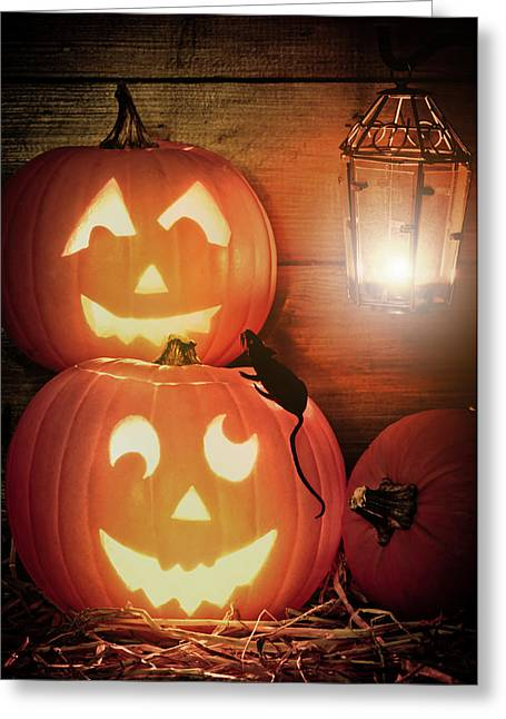 Halloween Scene Greeting Cards - Halloween Pumpkins Greeting Card by Amanda And Christopher Elwell