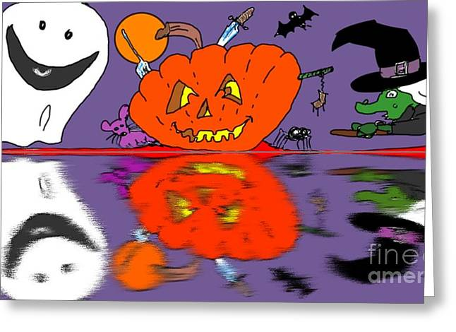 Flying Spider Greeting Cards - Halloween Reflections Greeting Card by George Pedro