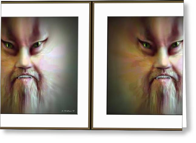 Self-perception Greeting Cards - Halloween Self Portrait - Gently cross your eyes and focus on the middle image Greeting Card by Brian Wallace