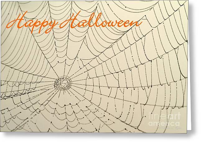 Halloween Card Greeting Cards - Halloween Spider Web Card Greeting Card by Sabrina L Ryan