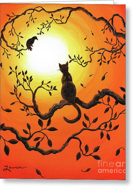 Black Cat Landscape Greeting Cards - Halloween Sunset Greeting Card by Laura Iverson