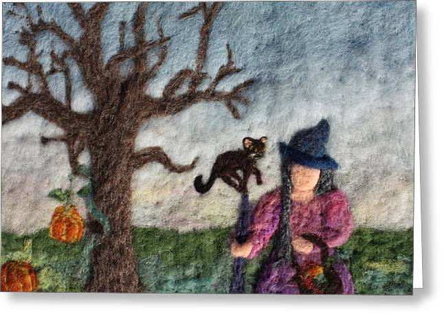 Orange Tapestries - Textiles Greeting Cards - Halloween Witch and Cat and Pumpkins Greeting Card by Nicole Besack
