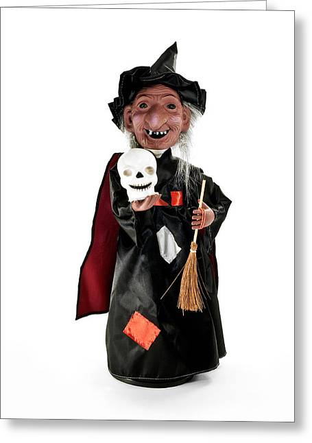 Witches Broom Greeting Cards - Halloween witch figurine. Greeting Card by Fernando Barozza