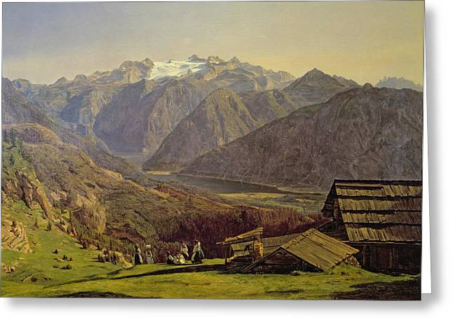 Swiss Paintings Greeting Cards - Hallstatter See Greeting Card by Ferdinand Georg Waldmuller
