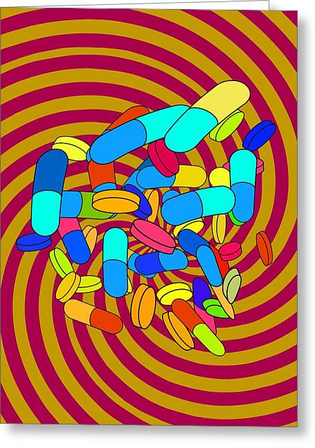 Altering Greeting Cards - Hallucinogenic Drugs, Conceptual Image Greeting Card by Stephen Wood