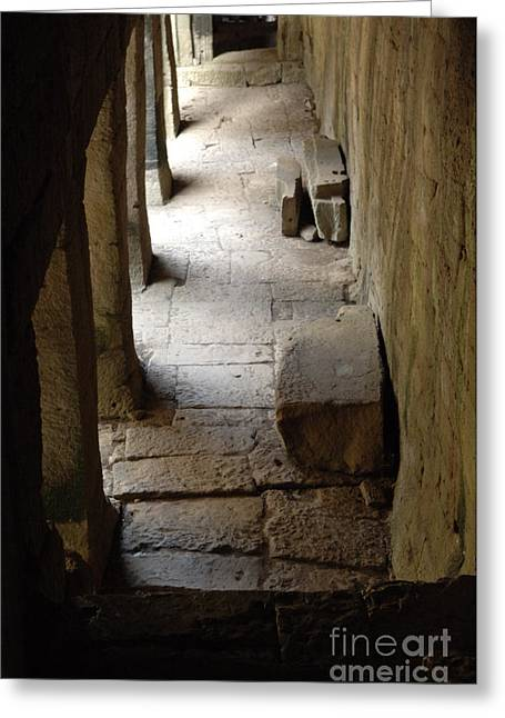 Traveling In Cambodia Greeting Cards - Hallway Ankor Wat Greeting Card by Bob Christopher